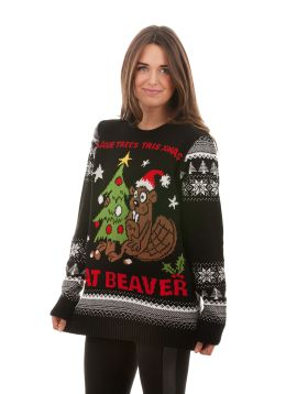 Tacky 'Eat Beaver' Christmas Sweater For Men - Front View