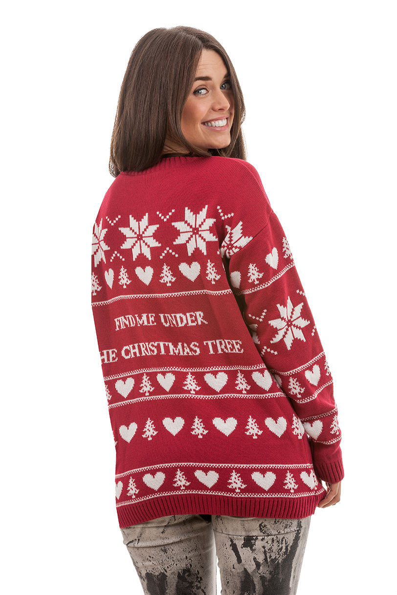 find me under the christmas tree jumper novelty rude