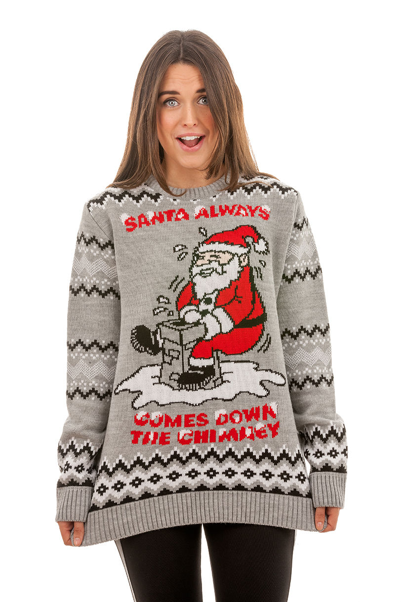 Santa Always Comes Jumper | Novelty | Rude Christmas Jumpers