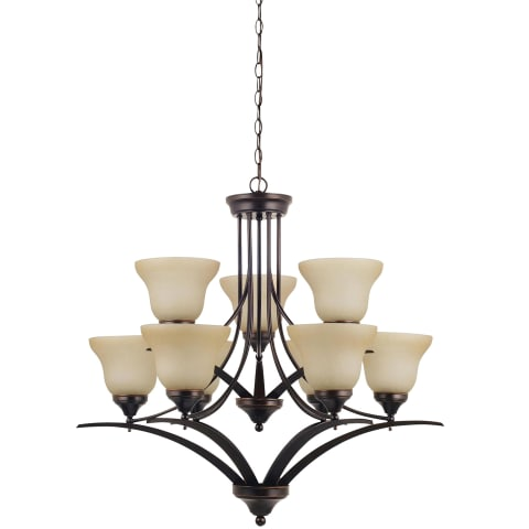 Brockton Nine Light Chandelier Burnt Sienna