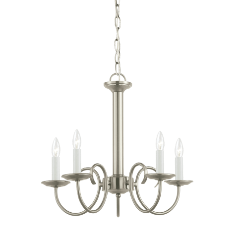 Holman Five Light Chandelier Brushed Nickel Bulbs Inc