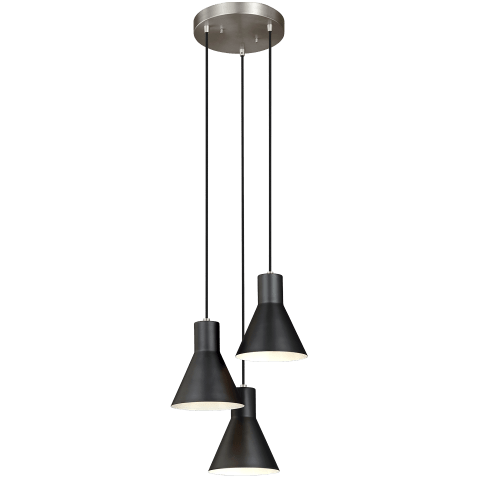 Towner Three Light Cluster Pendant Brushed Nickel Bulbs Inc