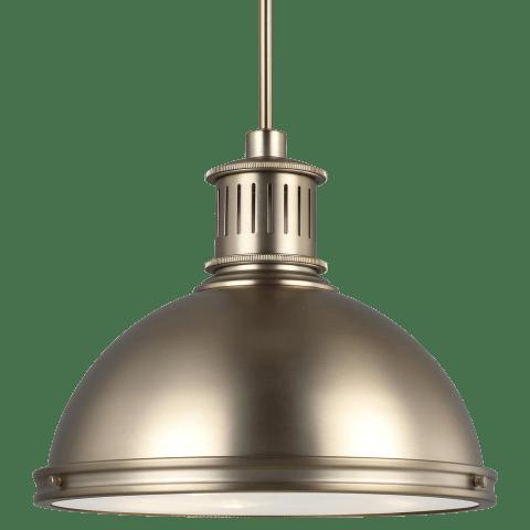 Pratt Street Metal Large LED Pendant Satin Brass Bulbs Inc
