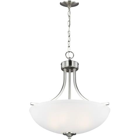 Geary Medium Three Light Pendant Brushed Nickel Bulbs Inc
