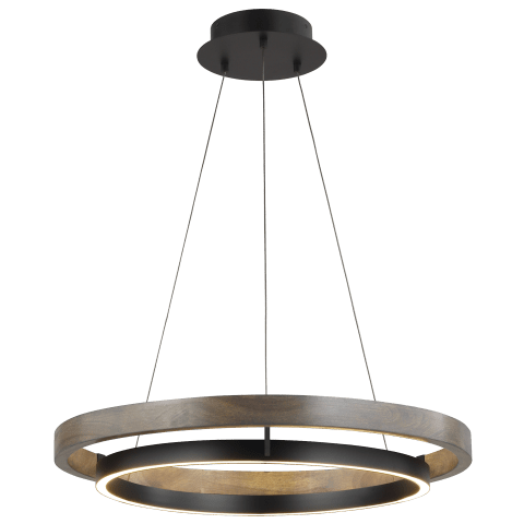"Grace 30 Chandelier 30"" Diameter matte black/weathered oak wood 3000K 90 CRI integrated led 90cri 3000k 120v (t24)"