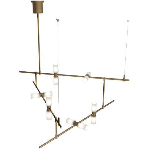ModernRail Chandelier 2 Glass Orbs aged brass 2700K 90 CRI 24v surface canopy