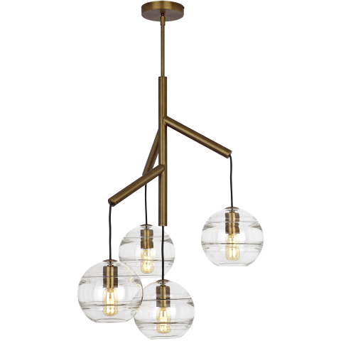 Sedona Single Chandelier Single Clear aged brass 2700K 90 CRI t14 led 90 cri 2700k 120v (t20/t24)