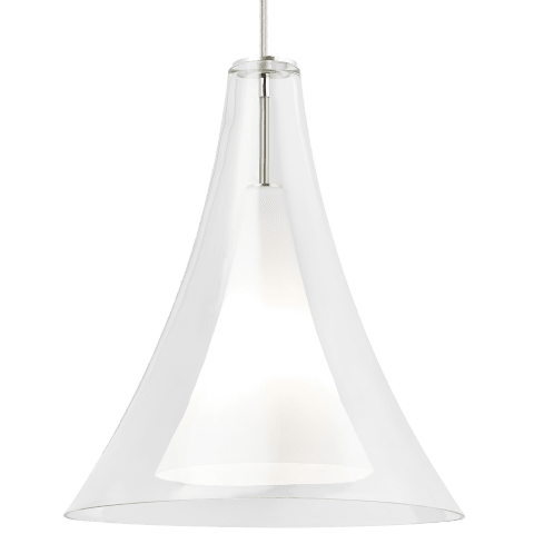 Melrose II Grande Pendant Clear satin nickel no lamp