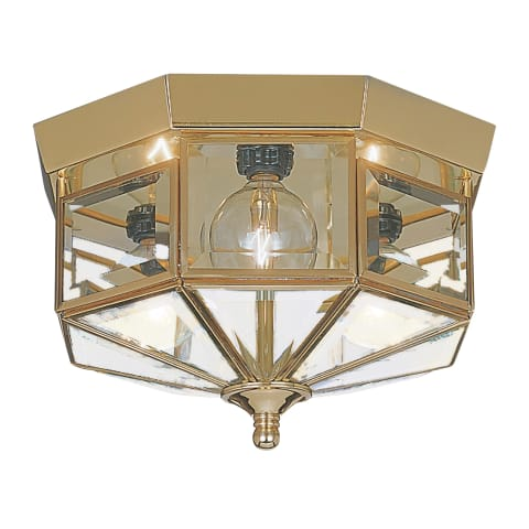Grandover Three Light Flush Mount Polished Brass
