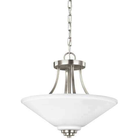 Parkfield Two Light Semi-Flush Convertible Pendant Brushed Nickel