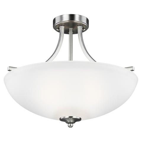Geary Medium Three Light Semi-Flush Convertible Pendant Brushed Nickel Bulbs Inc