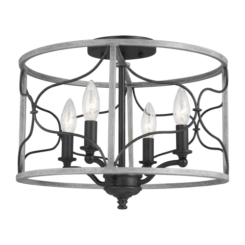 Carra Four Light Semi-Flush Mount Weathered Zinc
