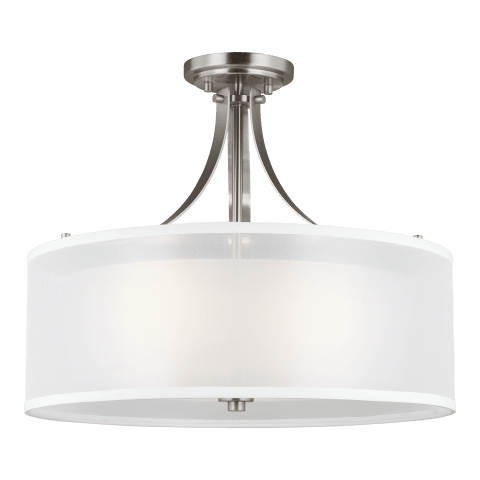 Elmwood Park Three Light Semi-Flush Mount Brushed Nickel