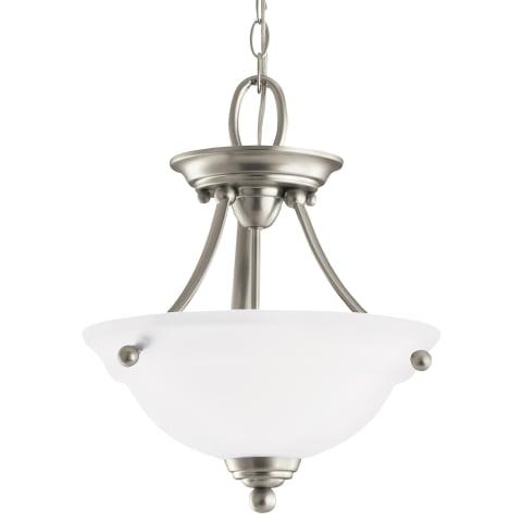 Wheaton Two Light Semi-Flush Convertible Pendant Brushed Nickel Bulbs Inc