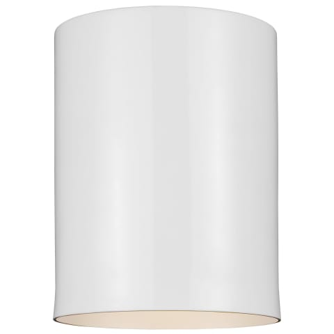 Outdoor Cylinders One Light Outdoor Flush Mount White