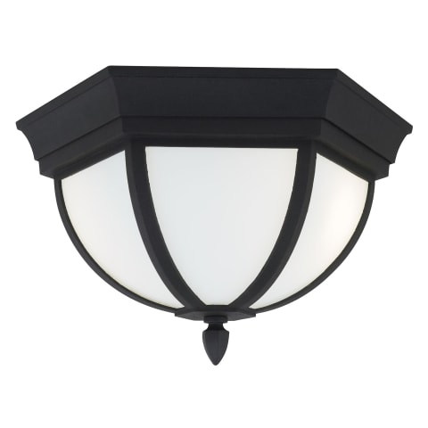 Wynfield Two Light Outdoor Flush Mount Black Bulbs Inc