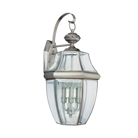 Lancaster Three Light Outdoor Wall Lantern Antique Brushed Nickel