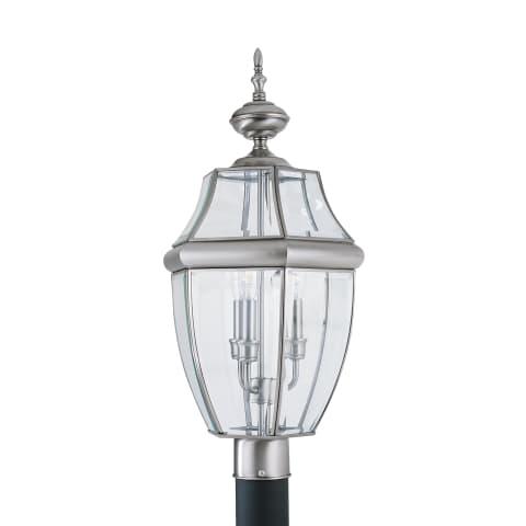Lancaster Three Light Outdoor Post Lantern Antique Brushed Nickel