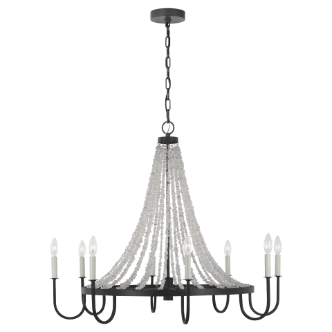 Leon 8 - Light Chandelier Dark Weathered Zinc