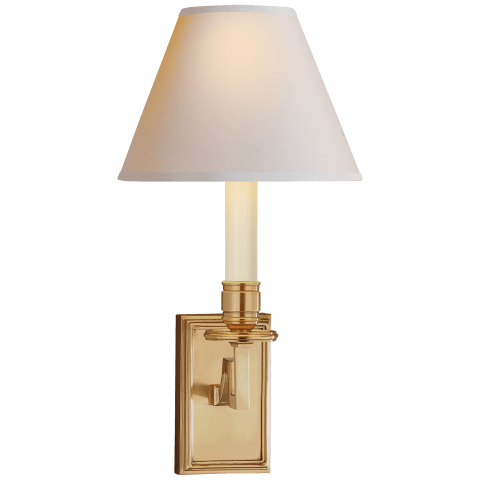 Dean Library Sconce in Natural Brass with Natural Paper Shade