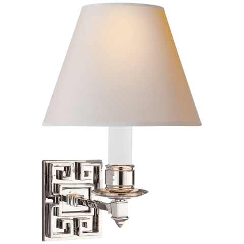 Abbot Single Arm Sconce in Polished Nickel with Natural Paper Shade