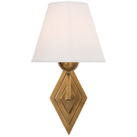 Bettina Single Sconce in Natural Brass with Natural Percale Shade