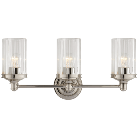 Ava Triple Sconce in Polished Nickel with Crystal