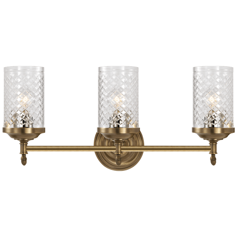 Lita Triple Sconce in Hand-Rubbed Antique Brass with Crystal