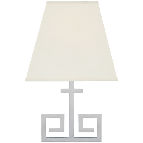 Kate Small Sconce in Polished Nickel with Natural Percale Shield