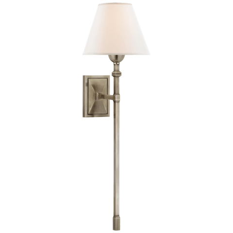 Jane Large Single Tail Sconce in Antique Nickel with Linen Shade
