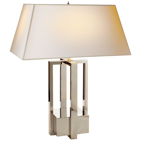 Ingrid Table Lamp in Polished Nickel with Natural Paper Shade