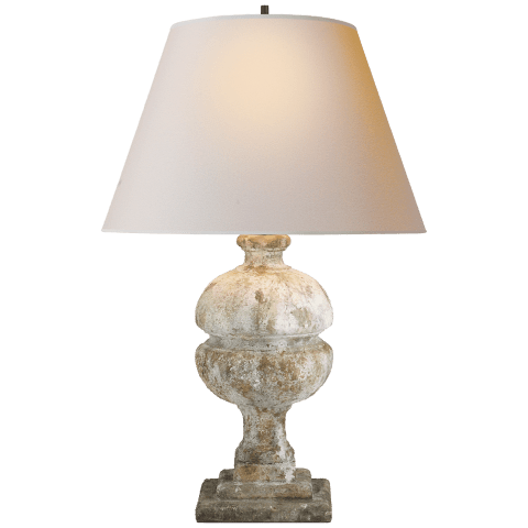 Desmond Table Lamp in White Marble with Natural Paper Shade