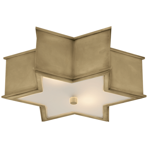 Sophia Large Flush Mount in Natural Brass with Frosted Glass