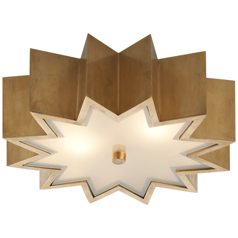 Odette Flush Mount in Natural Brass with Frosted Glass