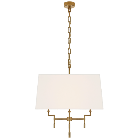 Jane Medium Hanging Shade in Hand-Rubbed Antique Brass with Linen Shade