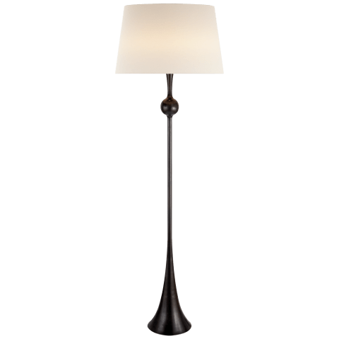 Dover Floor Lamp in Aged Iron with Linen Shade