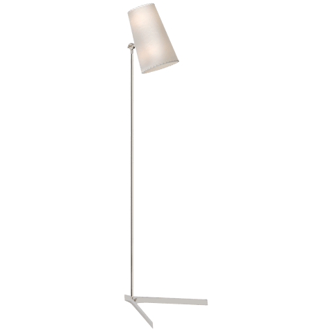 Arpont Floor Lamp in Polished Nickel with Parchment Stitched Shade