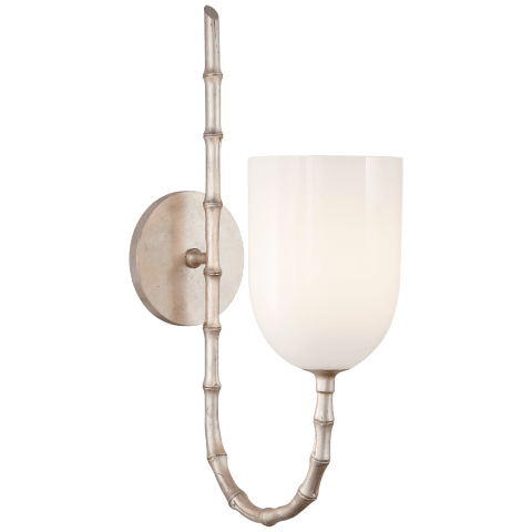Edgemere Wall Light in Burnished Silver Leaf with White Glass