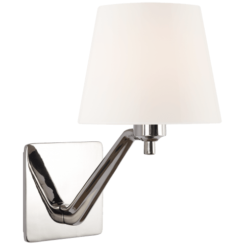Union Single Arm Sconce in Polished Nickel with White Glass