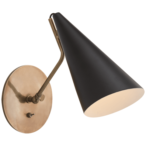 Clemente Wall Light in Hand-Rubbed Antique Brass with Black