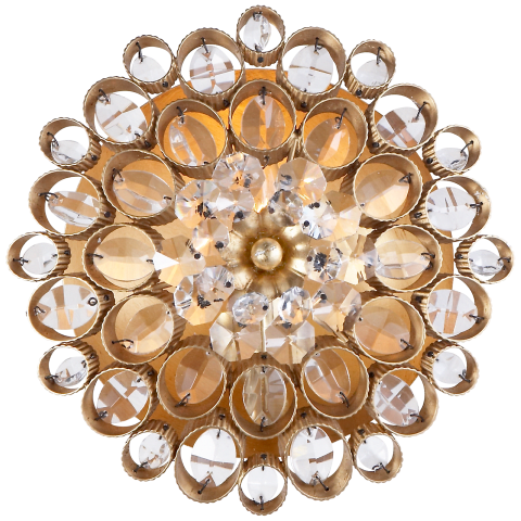 Claret Round Sconce in Gild with Crystal