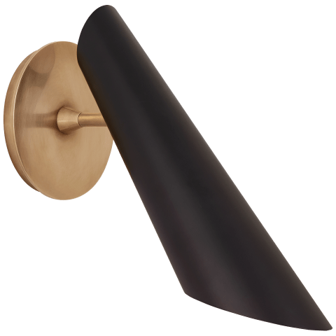 Franca Pivoting Shade Sconce in Hand-Rubbed Antique Brass with Black Shade
