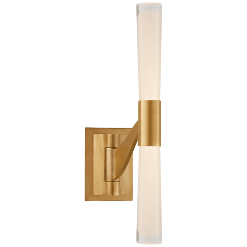 Brenta Single Articulating Sconce in Hand-Rubbed Antique Brass with White Glass