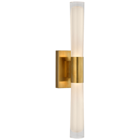 Brenta Single Sconce in Hand-Rubbed Antique Brass with White Glass