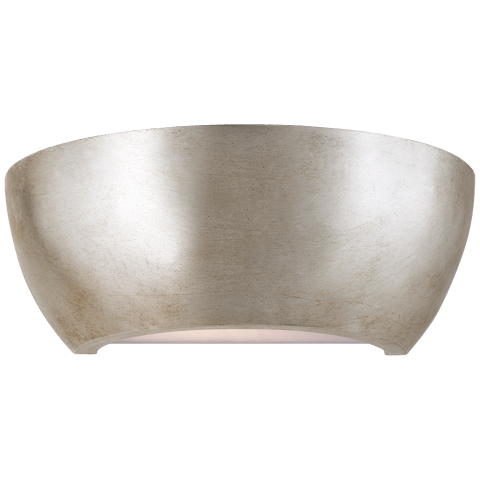 Arvour Medium Wall Washer in Burnished Silver Leaf with Frosted Acrylic Bottom Lens