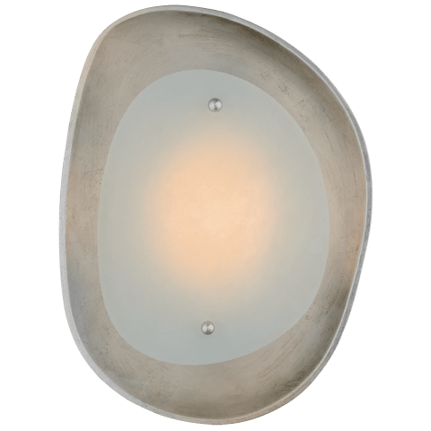 Samos Small Sculpted Sconce in Burnished Silver Leaf with Alabaster