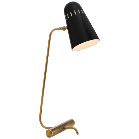Paix Table Lamp in Hand-Rubbed Antique Brass with Black