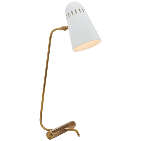 Paix Table Lamp in Hand-Rubbed Antique Brass with White