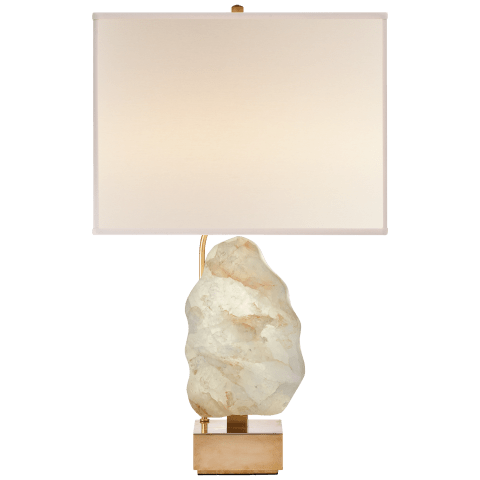 Trieste Table Lamp in Hand-Rubbed Antique Brass and Quartz with Linen Shade