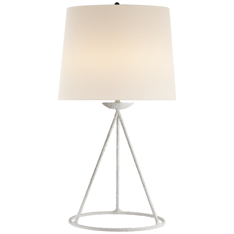 Fontaine Table Lamp in Plaster with Linen Shade